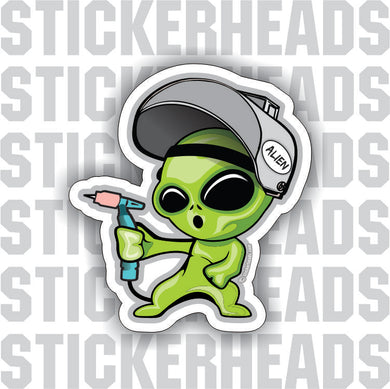 ALIEN WELDER - ALIEN LITTLE GREEN CARTOON  -  TIG Weld Welder Sticker