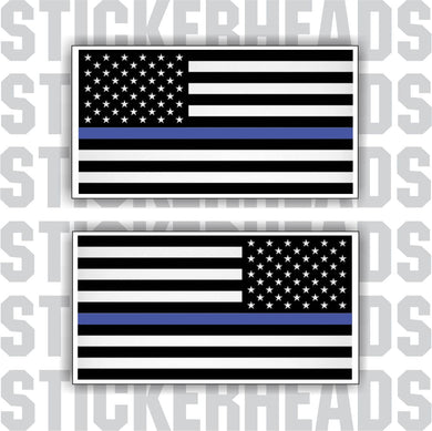 Blue Line POLICE - Law Enforcement - Flying American Flags  - USA Flag Sticker