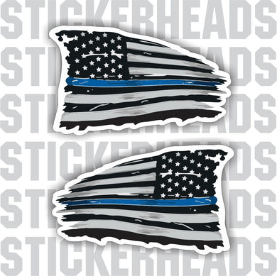 Blue Line POLICE - Law Enforcement - Flying American Flag Distressed  - USA Flag Sticker