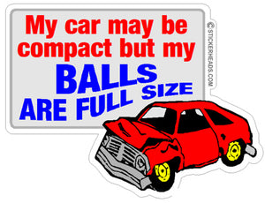 Compact Car Full Size Balls  - Demo Demolition Derby Sticker