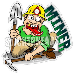 Coal Miner Cartoon Guy  - Coal Miners Mining Sticker
