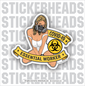 Essential Worker Sexy Chick with mask  - Coronavirus Covid-19 Pandemic Funny Sticker