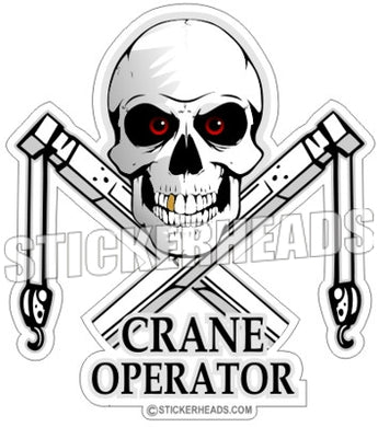 Skull With Crossed Boom Cranes & Hook -  Crane Operator Sticker