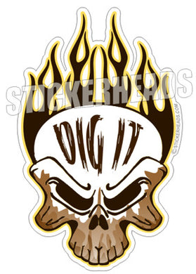 Dig It Skull - Custom Text -  Directional Driller Drilling Boring Sticker