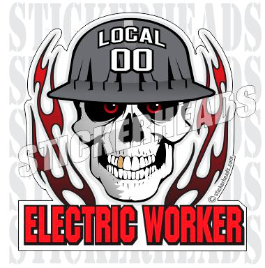 Skull With Flames - Electric Worker - Skull - Custom Text - IBEW  Electrical Electric Sticker