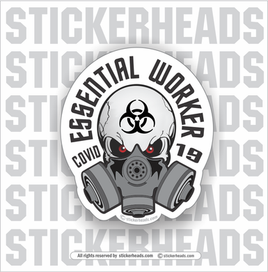 Essential Worker Skull with mask  - Coronavirus Covid-19 Pandemic Funny Sticker