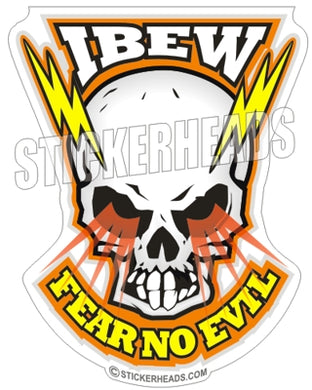 Skull With Electricial bolts - IBEW  Electrical Electric Sticker