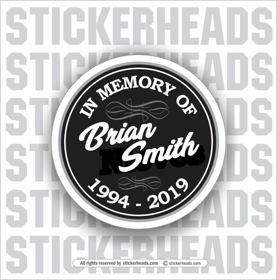 In Memory Of - Black Circle Sticker
