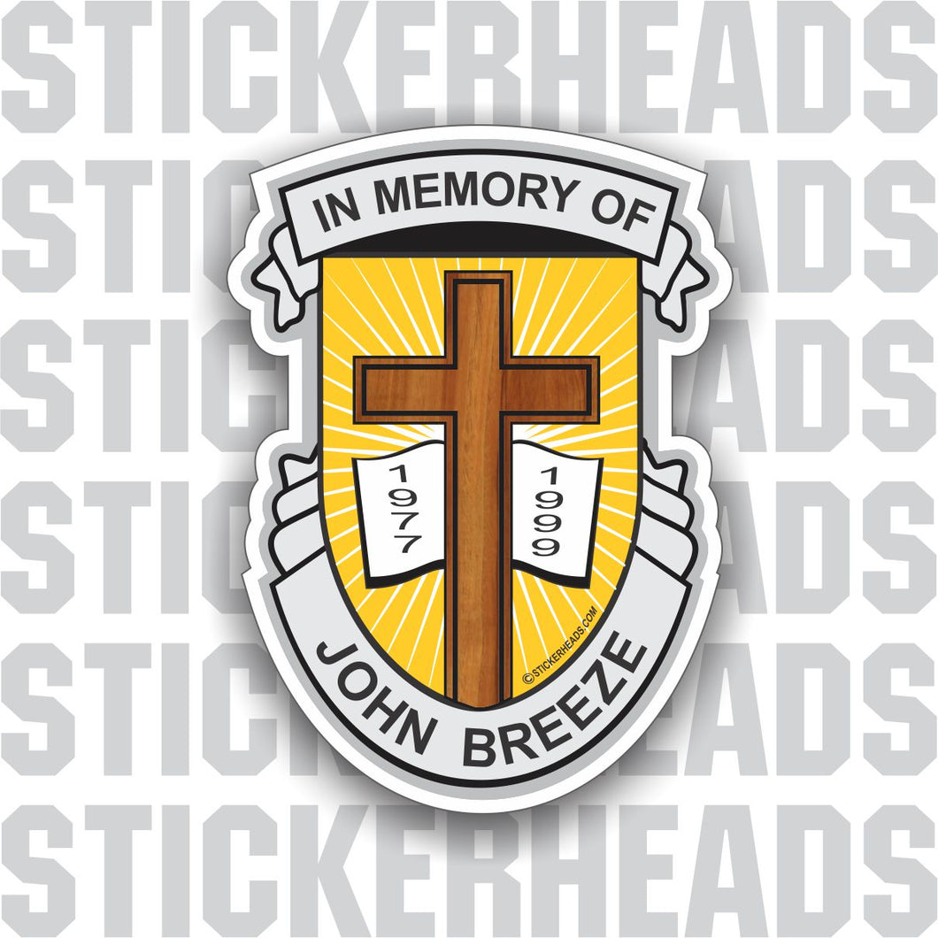Cross & Bible - Name & dates -  In Memory Of Sticker