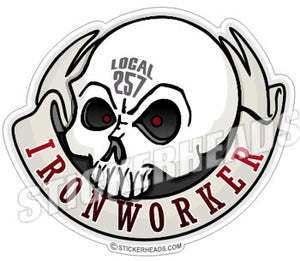 Ironworker Skull With Round Banner - Custom Text -  Ironworker Ironworkers Iron Worker Sticker