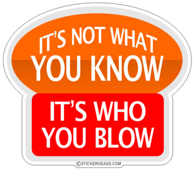Not What You Know It's Who You Blow  - Funny Sticker