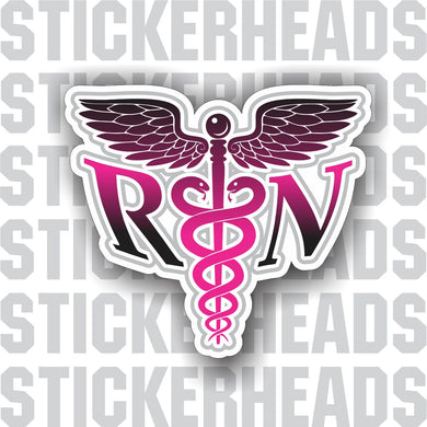 Caduceus Medical Symbol - Pink Nursing Nurse RN - Occupation Sticker