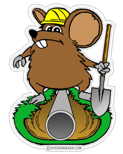 Ditch Rat working on Pipe - Without Text - Laborer - Sticker