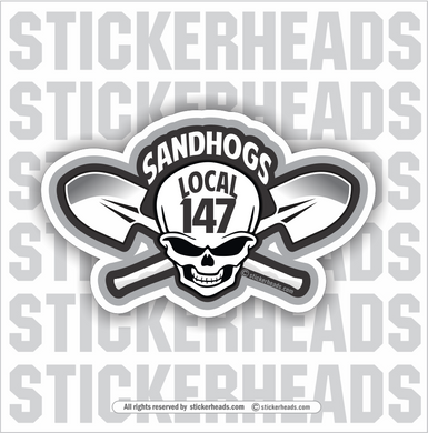 Sandhogs Skull Local 147  - Sandhog Sticker