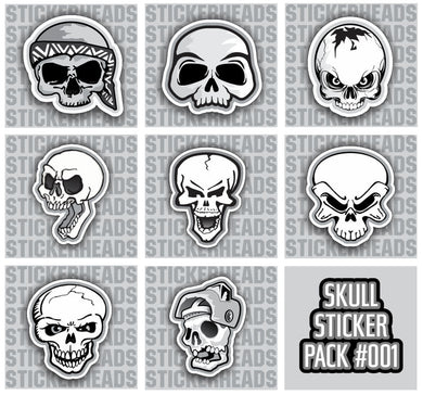 SKULL PACK #001 - Skull Sticker Pack