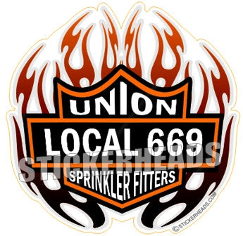 Biker Badge -  with your local - Sprinkler Fitter  Sprinklerfitter fitter  - Sticker