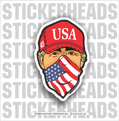 USA bandana  - Red Hat - Trump  45 -  Patriotic Sticker