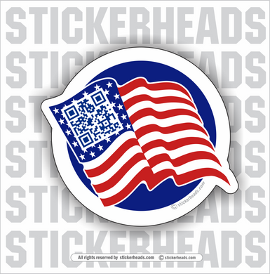 USA AMERICAN FLAG - Scan For Video  - Custom QR AUDIO / VIDEO STICKER