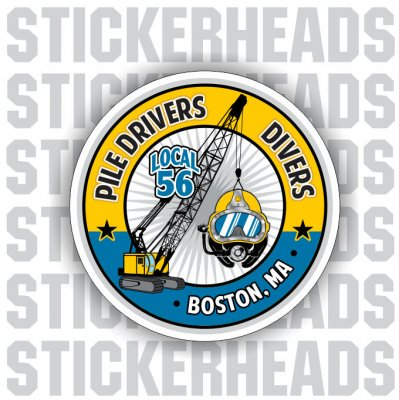 Pile Drivers Divers - Crane & Helmet - Custom Text  - Commercial Diver Sticker