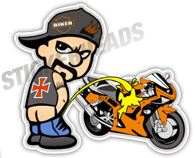 Biker Piss Pee on Crotch Rocket  - Bike Biker Motorcycle Sticker