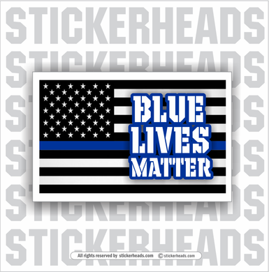 Blue Lives Matter USA BLUE LINE FLAG -  Funny Work Sticker
