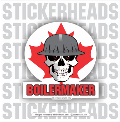 Skull & flag - Canada Canadian - With Your Local - Union - boilermakers  boilermaker  Sticker