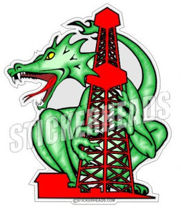 Oil Rig Dragon   -  Oilfield Oil Patch Driller Drilling - Sticker