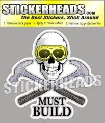 Must Build - Skull With Hammers - Carpenter Sticker