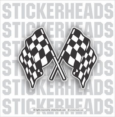 Crossed Checkered  Racing -  Flag Sticker