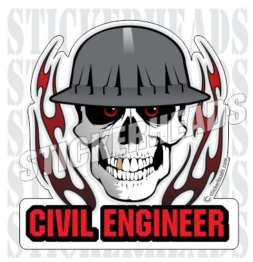 Skull With Flames - Skull - Civil Power Engineer Sticker