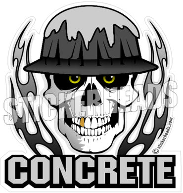 Concrete Skull With Flames - Concrete Brick Mason Sticker