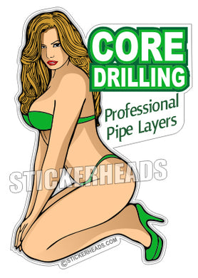 Professional Pipe Layers - Sexy Chick -  Core Driller Drilling Sticker