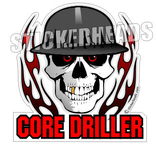 Core Driller Skull with Flame  -  Core Driller Drilling Sticker