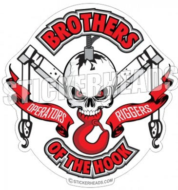 Brothers Of the Hook - Skull Boom Hook & Banners -  Crane Operator Sticker