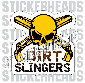 Dirt Slingers  -  Skull with crossed buckets - Crane Operator Sticker