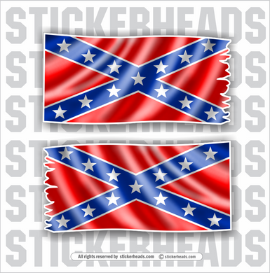 Waving Dixie Flag ( 2 stickers)- Funny Sticker