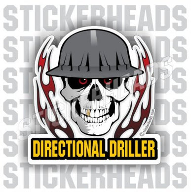 Skull With Flames -  Directional Driller Drilling Boring Sticker