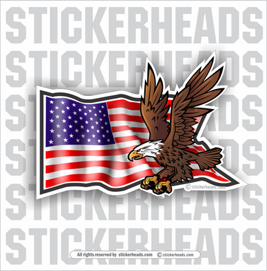 Waving Flag with Eagle- USA Flag - Funny Sticker