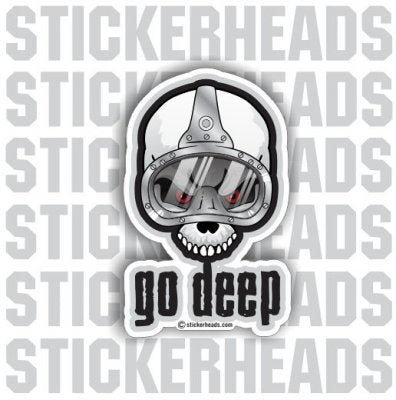 Go Deep Skull And Mask - Commercial Diver Sticker