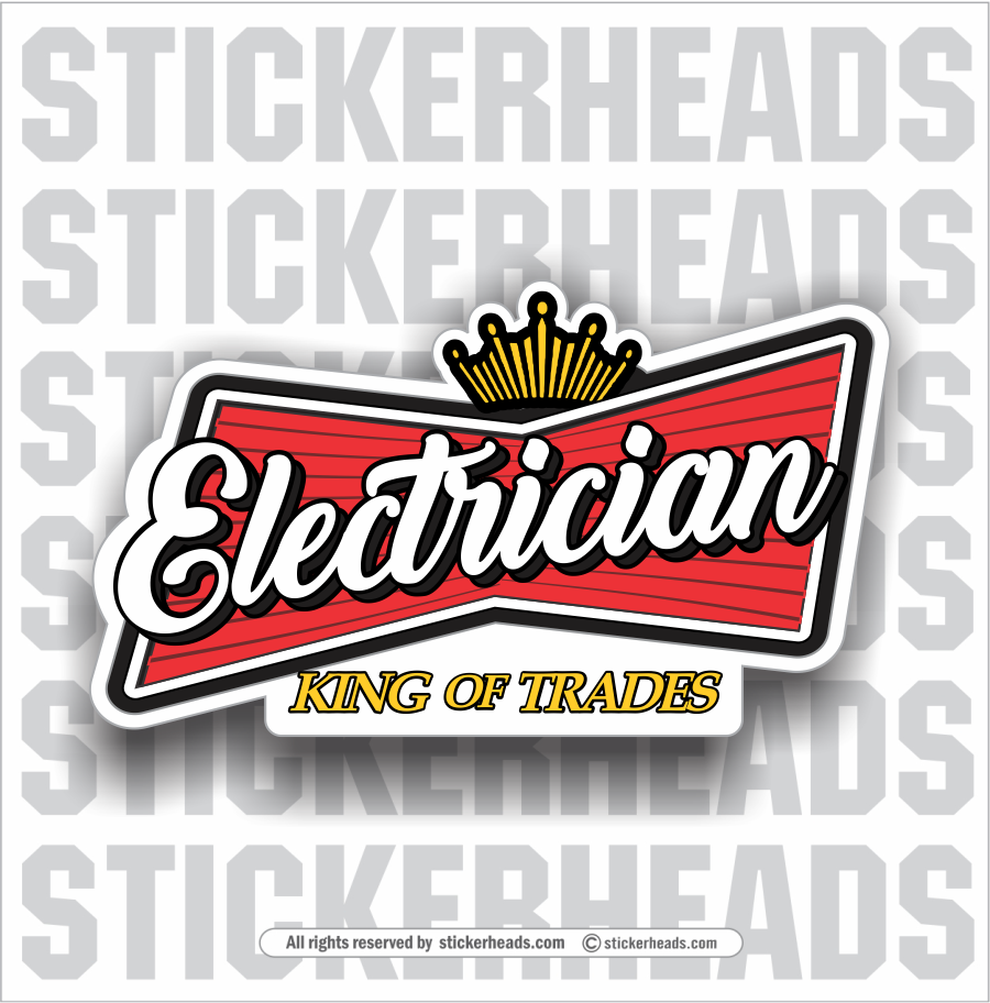 Beer Electrician Logo - king of trades  -  Sticker