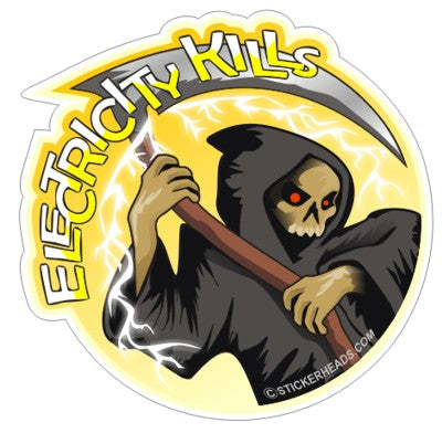 Electricity Kills - Grim Reaper - IBEW  Electrical Electric Sticker