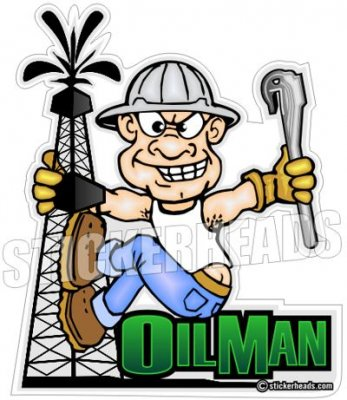 Oil Man Cartoon - Oil rig -  Oilfield Oil Patch Driller Drilling - Sticker