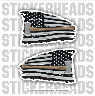 USA FLAG - DOUBLE BIT AXE  - Loggers Logging Sticker