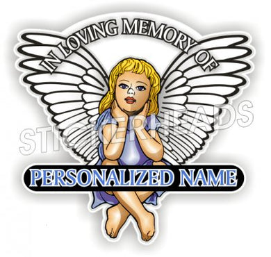 Angel child with custom name -  In Memory Of Sticker