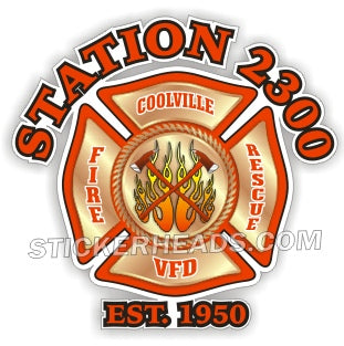 Station Number Custom Gold Fireman Maltese Cross - Fire  Firefighter Sticker