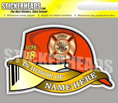 Your Custom Name and No. Fireman Helmet - Fire  Firefighter Sticker