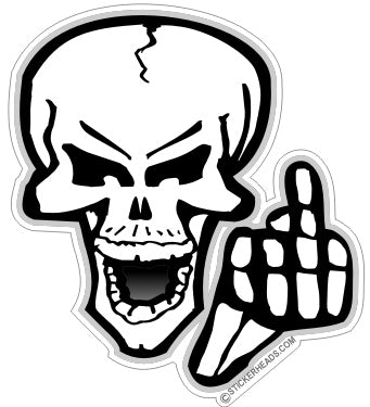 Skull Flip Off  - Funny Sticker