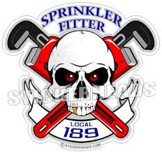 Skull & crossed Pipe wrenches - Banner with your local - Sprinkler Fitter  Sprinklerfitter fitter  - Sticker