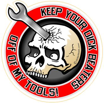 Dick Beaters - Skull With Forehead Wrench -  Mechanic Mechanics Sticker