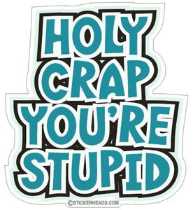 Holy Crap You're Stupid - Funny Sticker